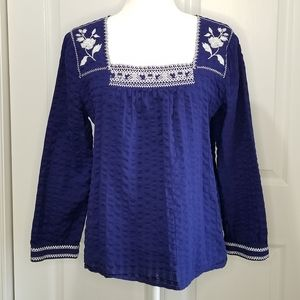 J. Crew Embroidered Peasant Blouse Top